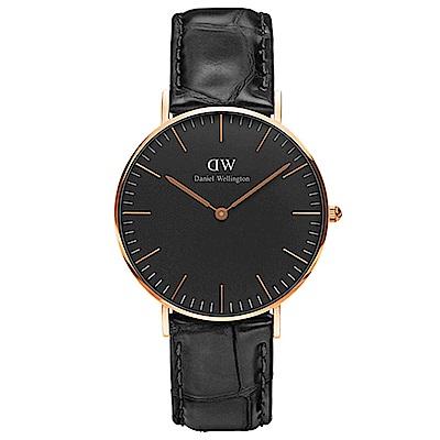 DW手錶 官方旗艦店 36mm玫瑰金框 Classic Black 爵士黑真皮皮革手錶