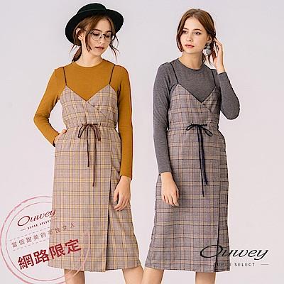 OUWEY歐薇 正面開衩造型綁帶真兩件式細肩帶格紋洋裝(灰/黃)