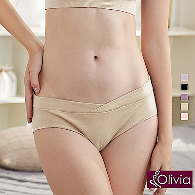 Olivia 棉柔舒適低腰V型內褲-膚色