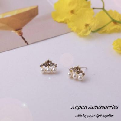【Anpan 愛扮】韓版REINA氣質小巧雲朵珍珠925銀針耳釘式耳環