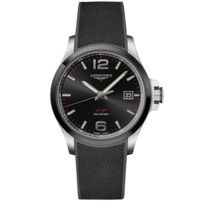 LONGINES浪琴 征服者系列V.H.P.萬年曆陶瓷圈手錶-黑 L37294569