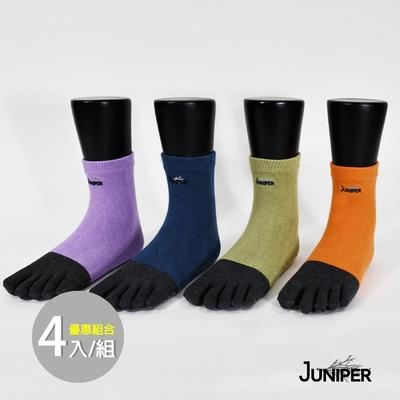 MIT台灣製造-JUNIPER 竹碳抑臭止滑運動休閒中筒五指襪(4色組合優惠) TJP011