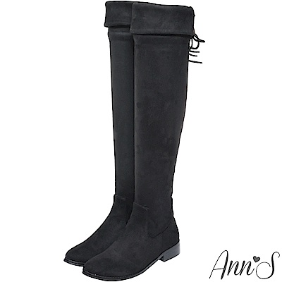 Ann'S矮個子救星-防水絨布兩穿馬甲過膝長靴