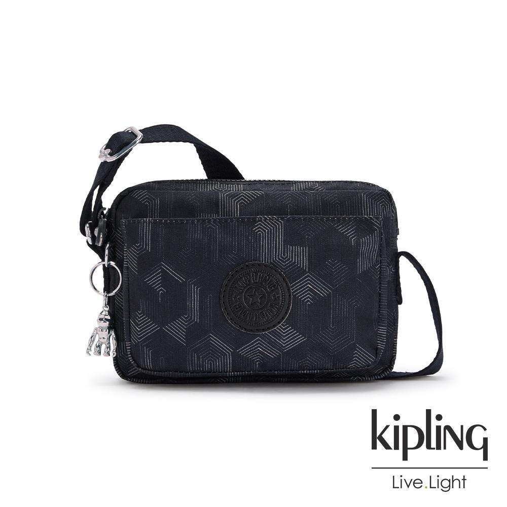 Kipling 幾何圖騰黑前後加寬收納側背包-ABANU