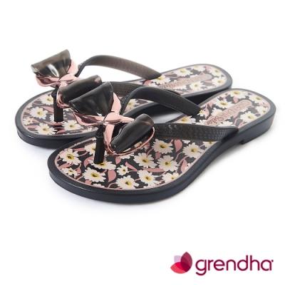 Grendha 瑪格麗特蝴蝶結夾腳鞋-女童-黑色