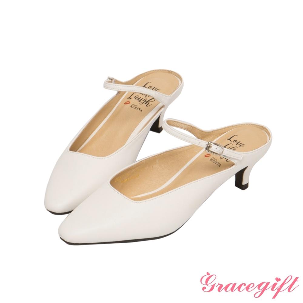Grace gift X Kerina-聯名後空繫帶中跟穆勒鞋 白