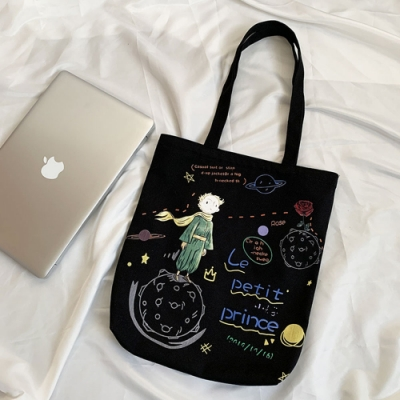 Amazing 孤獨星球小王子童話塗鴉側背袋(2色任選)