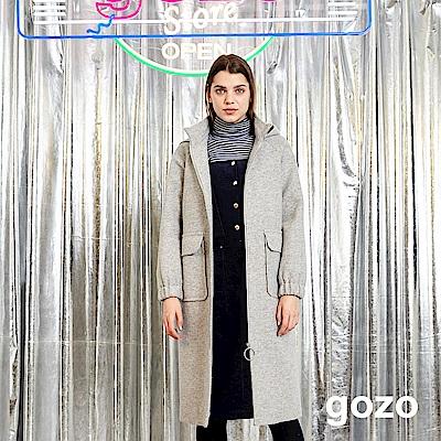 gozo 法式優雅長版羊毛連帽外套(灰色)