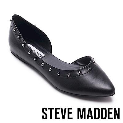 STEVE MADDEN-ESTER鉚釘尖頭側空平底鞋-黑色