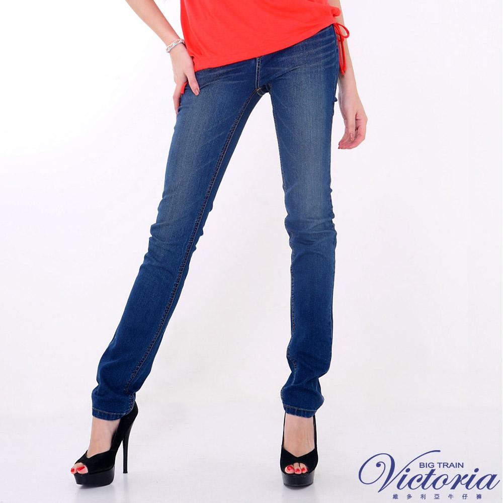 Victoria 中高腰美臀小直筒褲-女-中藍