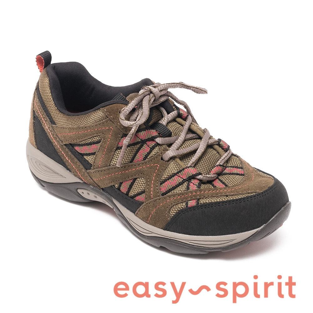 easy spirit-EXPLOREMAP 拼色麂皮綁帶機能運動鞋-橄欖綠