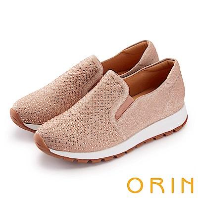 ORIN 時尚渡假風 鞋面規則燙鑽平底休閒鞋-粉色
