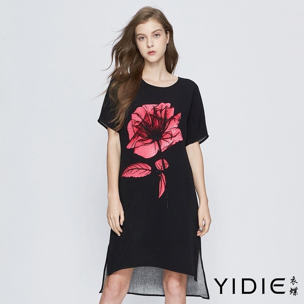 【YIDIE衣蝶】簡約鑽飾大花印花長洋裝