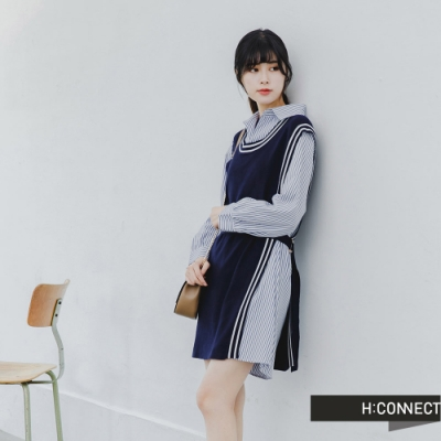 H:CONNECT 韓國品牌 女裝 -都會兩件式襯衫腰帶洋裝-藍