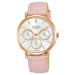 ALBA雅柏 氣質甜美日曆女錶(AP6610X1)-銀x粉色/34mm