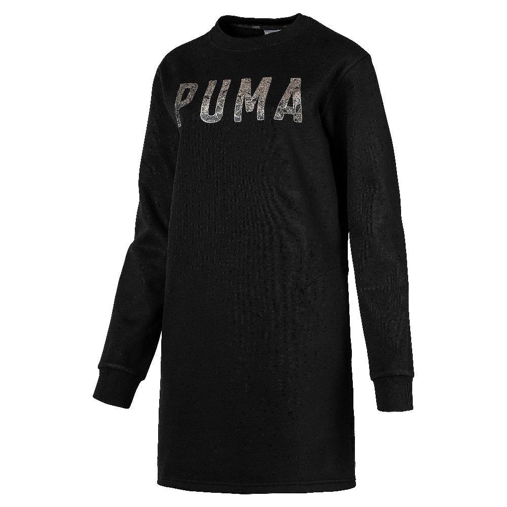 PUMA-女性基本系列運動風刷毛連身裙-黑色-歐規