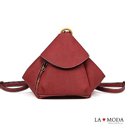 La Moda 實用性極佳多種背法肩背斜背後背包(紅)
