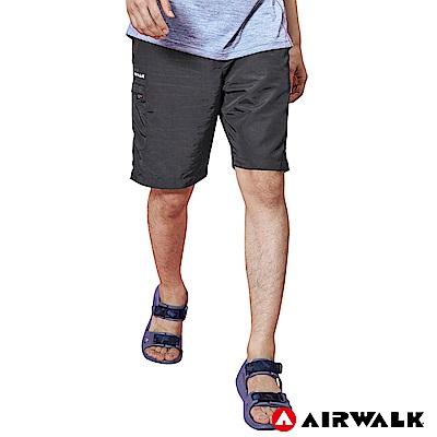 【AIRWALK】男款風衣剪接短褲-灰色