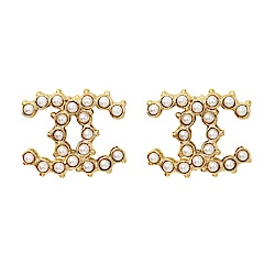 CHANEL香奈兒 經典雙C LOGO 鑲嵌珍珠圓珠滾邊金色耳環