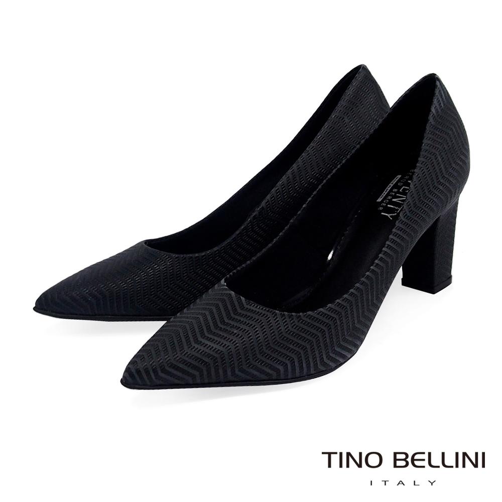 Tino Bellini 巴西進口幾何形象波浪線條尖楦跟鞋 _ 黑