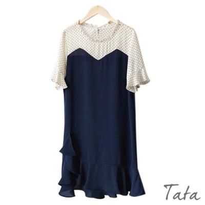 拼接點點不對稱荷葉洋裝 共二色 TATA-(M/L)