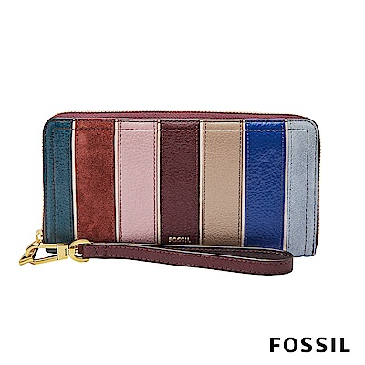 FOSSIL LOGAN 多層拉鍊設計長夾-多色直條紋