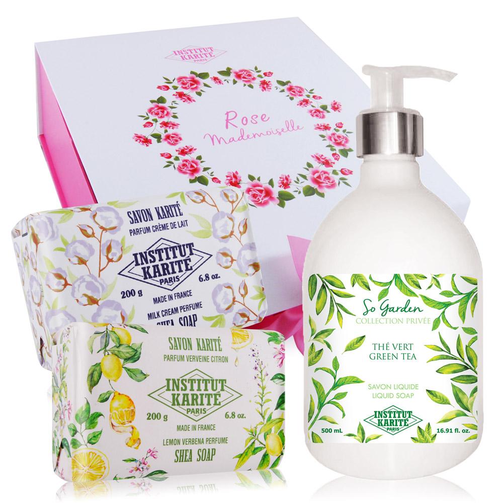 IKP 巴黎乳油木 綠茶花園香氛液體皂500ml+手工皂200gX2 再贈原廠精美禮盒