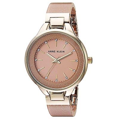 Anne Klein 紐約時尚流沙金粉玻麗腕錶-粉色x32mm AK-1408LPLP