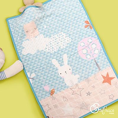 Embrace英柏絲 雙層法蘭絨兒童毯100x140cm 抗靜電 保暖-粉藍小白兔