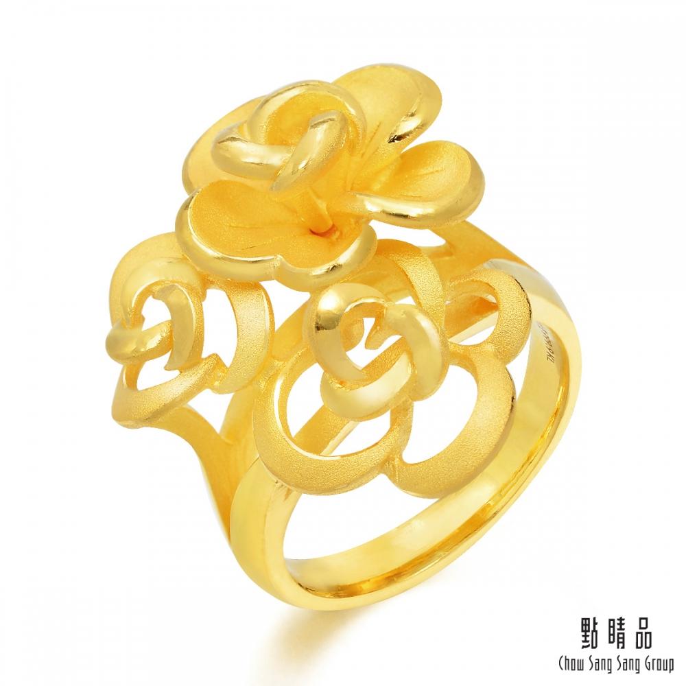 點睛品 足金玫瑰花時尚婚嫁黃金戒指(港圍15)_計價黃金