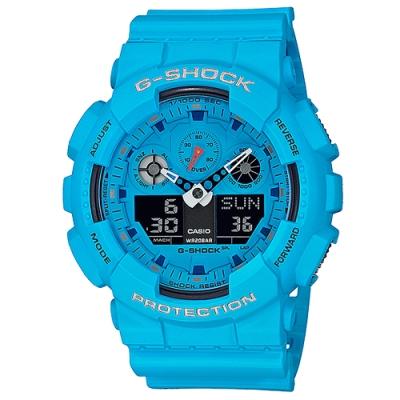 G-SHOCK 復古亮色電吉他概念風格休閒雙顯錶-亮藍(GA-100RS-2A)/51.2mm