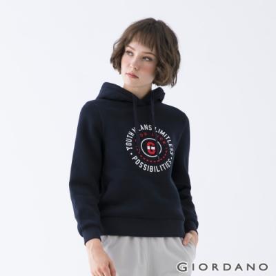 GIORDANO  女裝YOUTH連帽T恤 - 41 標誌藍