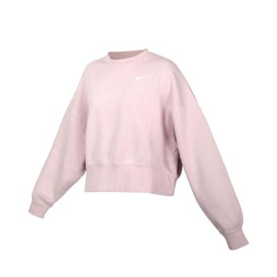 NIKE 女長袖T恤-刷毛 保暖 休閒 寬版 上衣 大學T CK0169-645 芋紫白