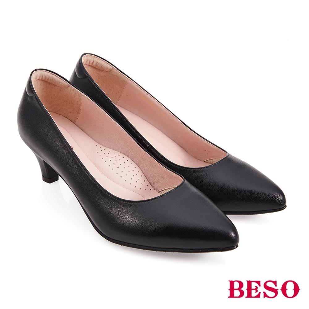 A.S.O BESO國民小資女柔軟羊皮素面尖頭中跟鞋-黑色