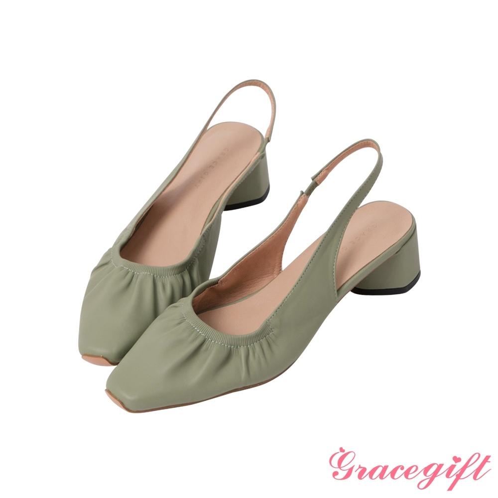 Grace gift-方頭抓皺後空中跟鞋 綠