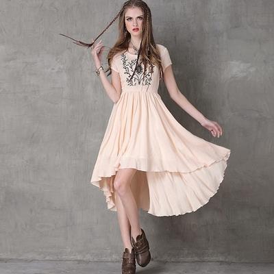 米蘭精品 連身裙短袖洋裝-復古民族風刺繡不規則女裙子2色74ad37