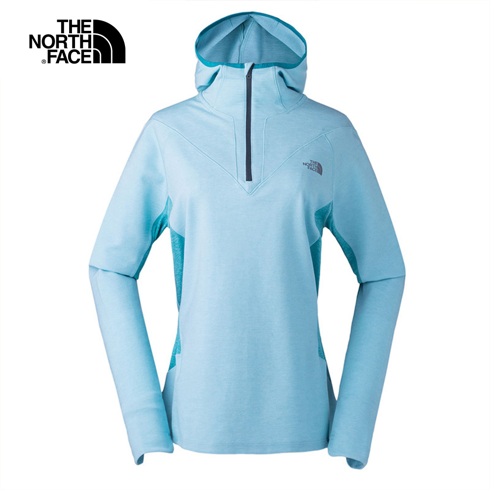 The North Face北面女款藍綠色吸濕排汗連帽長袖上衣 3LLA7QG