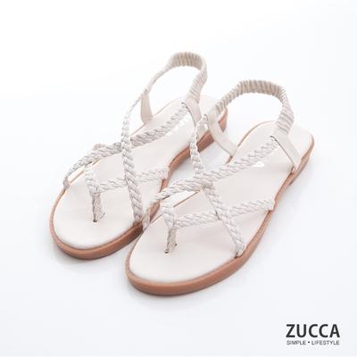 ZUCCA-編織素帶交叉涼鞋-白-z7003we