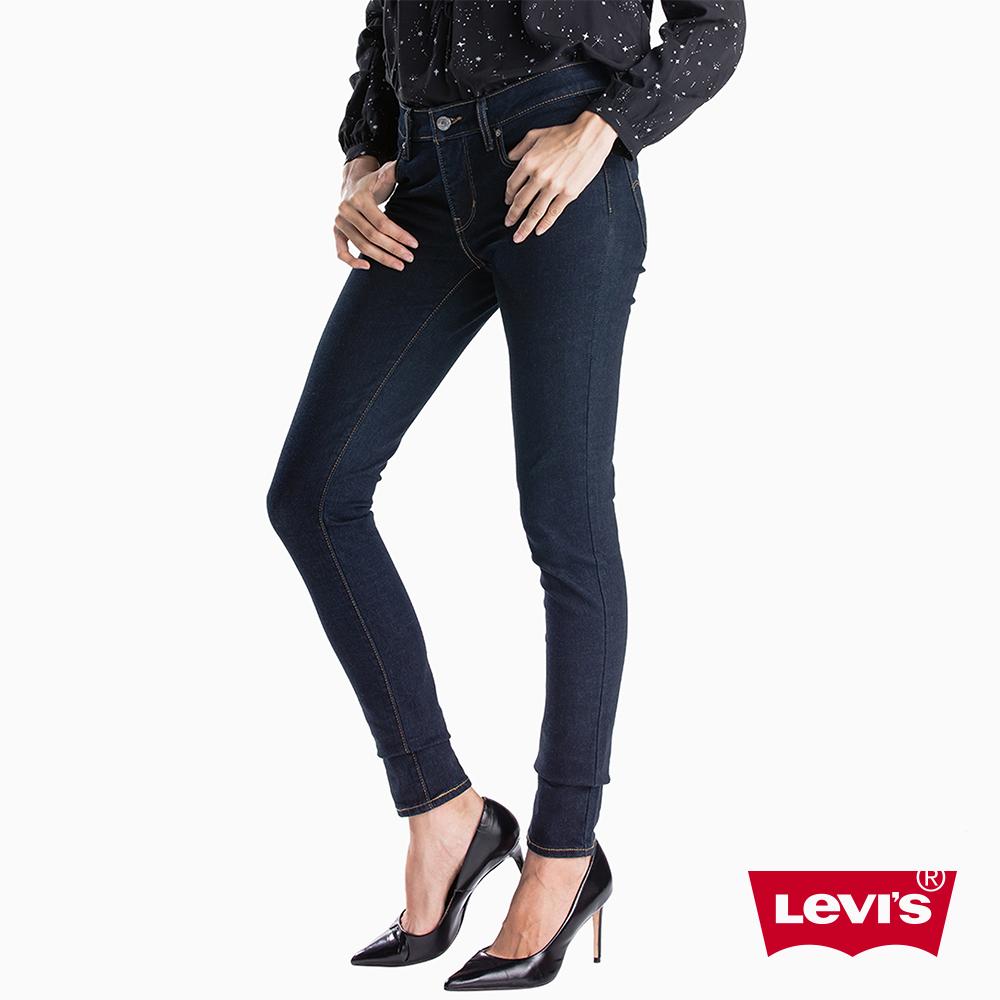 Levis 女款 Revel中腰緊身提臀牛仔長褲 超彈力塑型布料 藍黑水洗