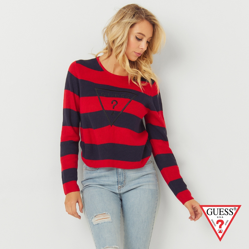 GUESS-女裝-撞色線條針織上衣-黑紅 原價2490