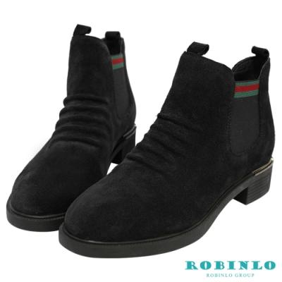Robinlo 隨興抓皺復古休閒短靴 黑色