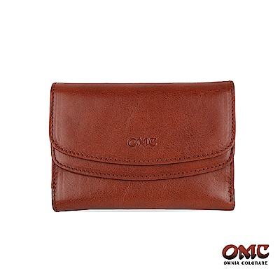 OMC 原皮系列-植鞣牛皮雙壓扣11卡透明窗零錢中夾-咖啡色