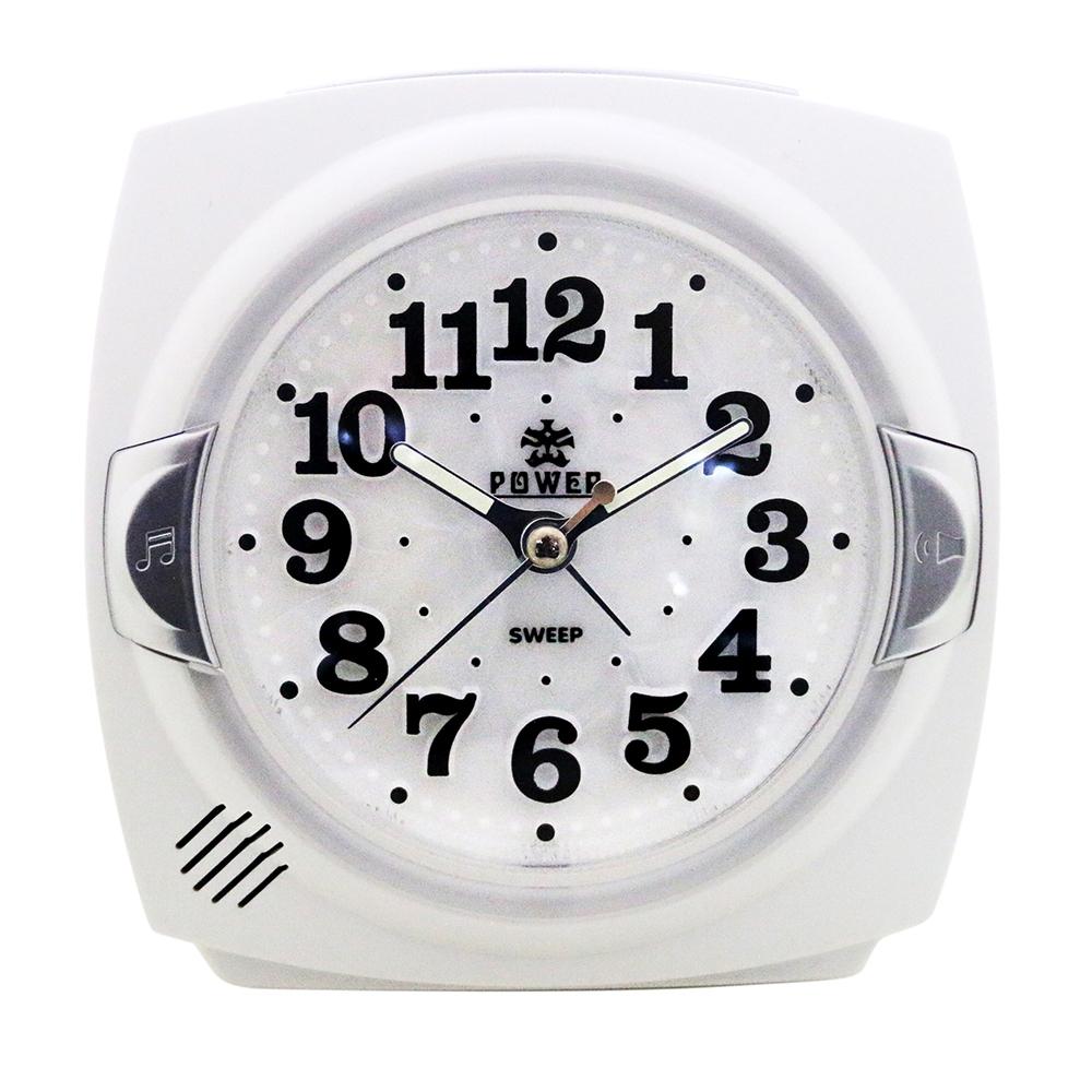 POWER霸王鐘錶-貝殼面板小鬧鐘-時尚白-PM666W-12CM