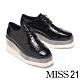 休閒鞋 MISS 21 時髦潮感鱷魚紋全真皮綁帶厚底休閒鞋-黑 product thumbnail 1