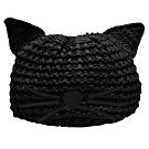 KARL LAGERFELD 經典CHOUPETTE系列貓咪刺繡圖案針織毛帽(黑)