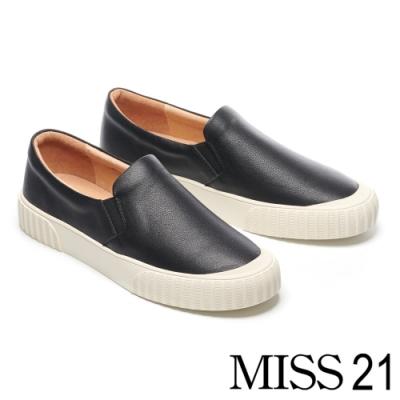 休閒鞋 MISS 21 極簡約純色全真皮厚底休閒鞋-黑