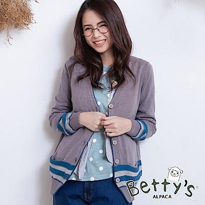 betty's貝蒂思 配色排釦休閒針織罩衫(淺灰)