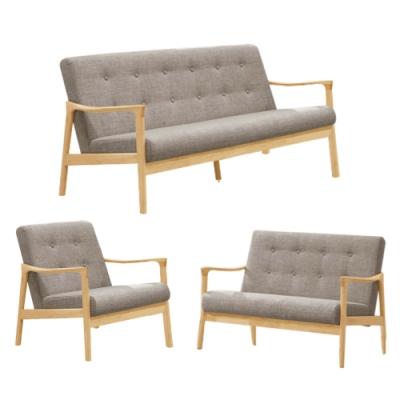 文創集 妮塔現代風棉麻布實木沙發椅組合(1+2+3人座)