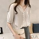 SQUA V領蕾絲綁帶上衣-二色-(M~XL)
