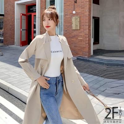 2F韓衣-翻領繫繩造型長版風衣